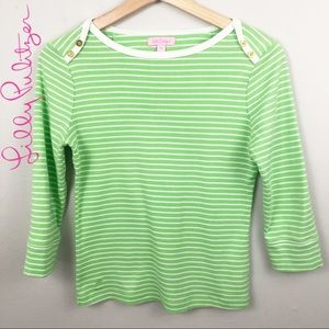 Lilly Pulitzer green striped boat neck 3/4 sleeve